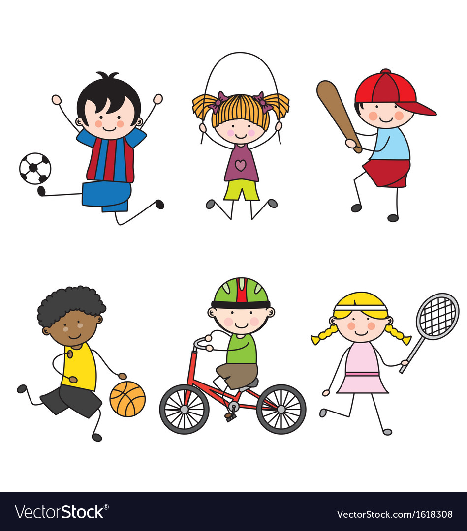 Set of cartoon sport icons vector