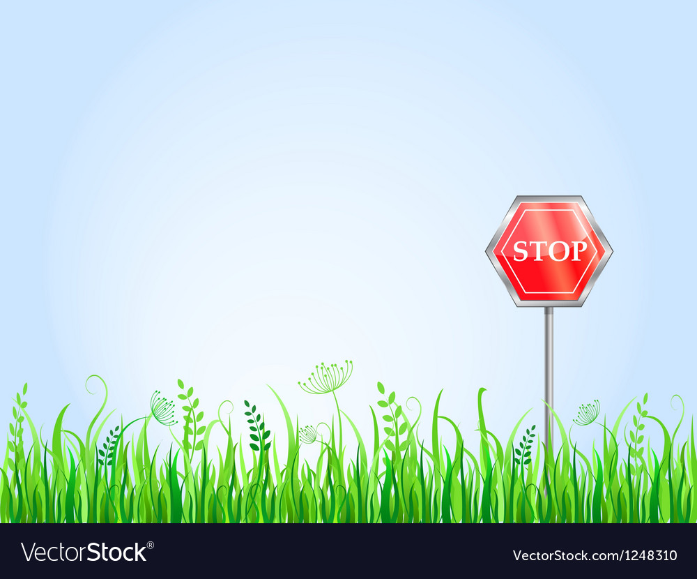 Red stop sign on grass meadow vector