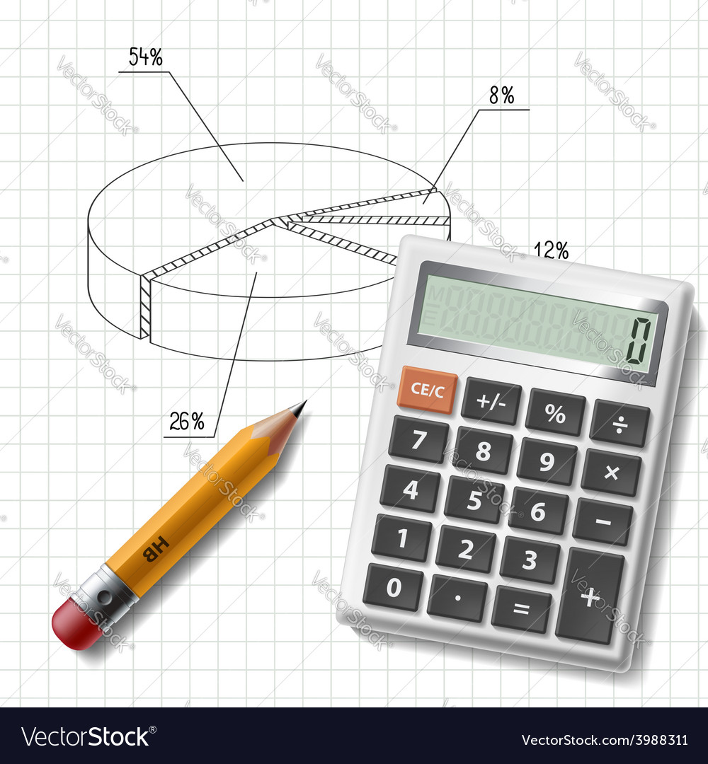 Calculator pencil and graph on notebook sheet vector
