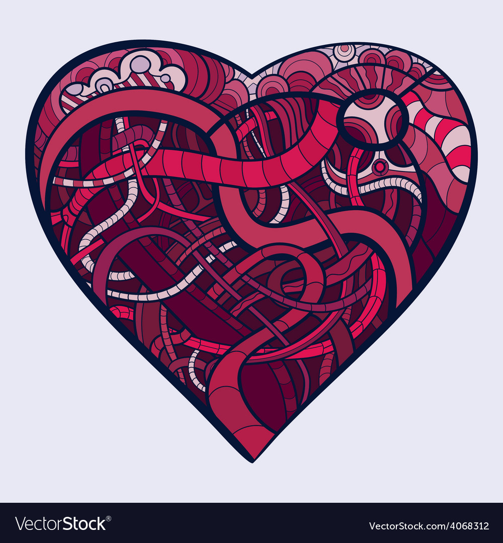 Decorative heart with open vessels vector