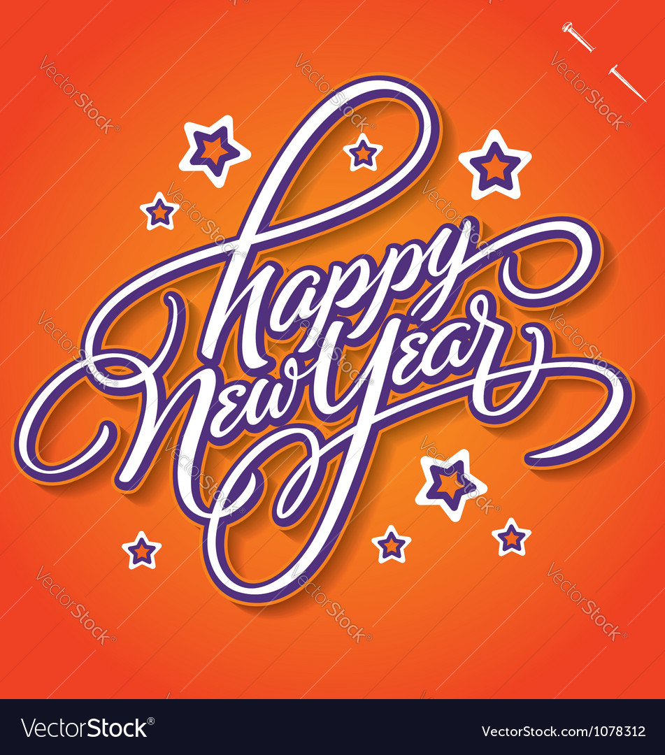 Happy new year hand lettering vector