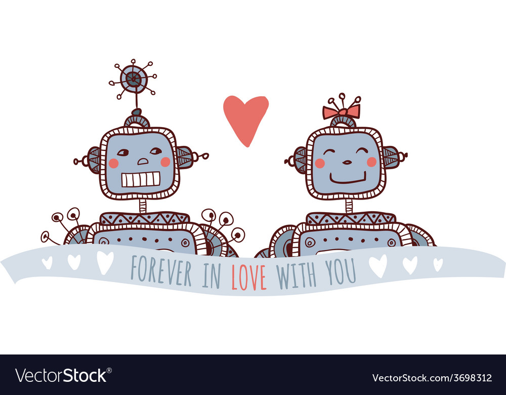 Robot with heart forever in love vector