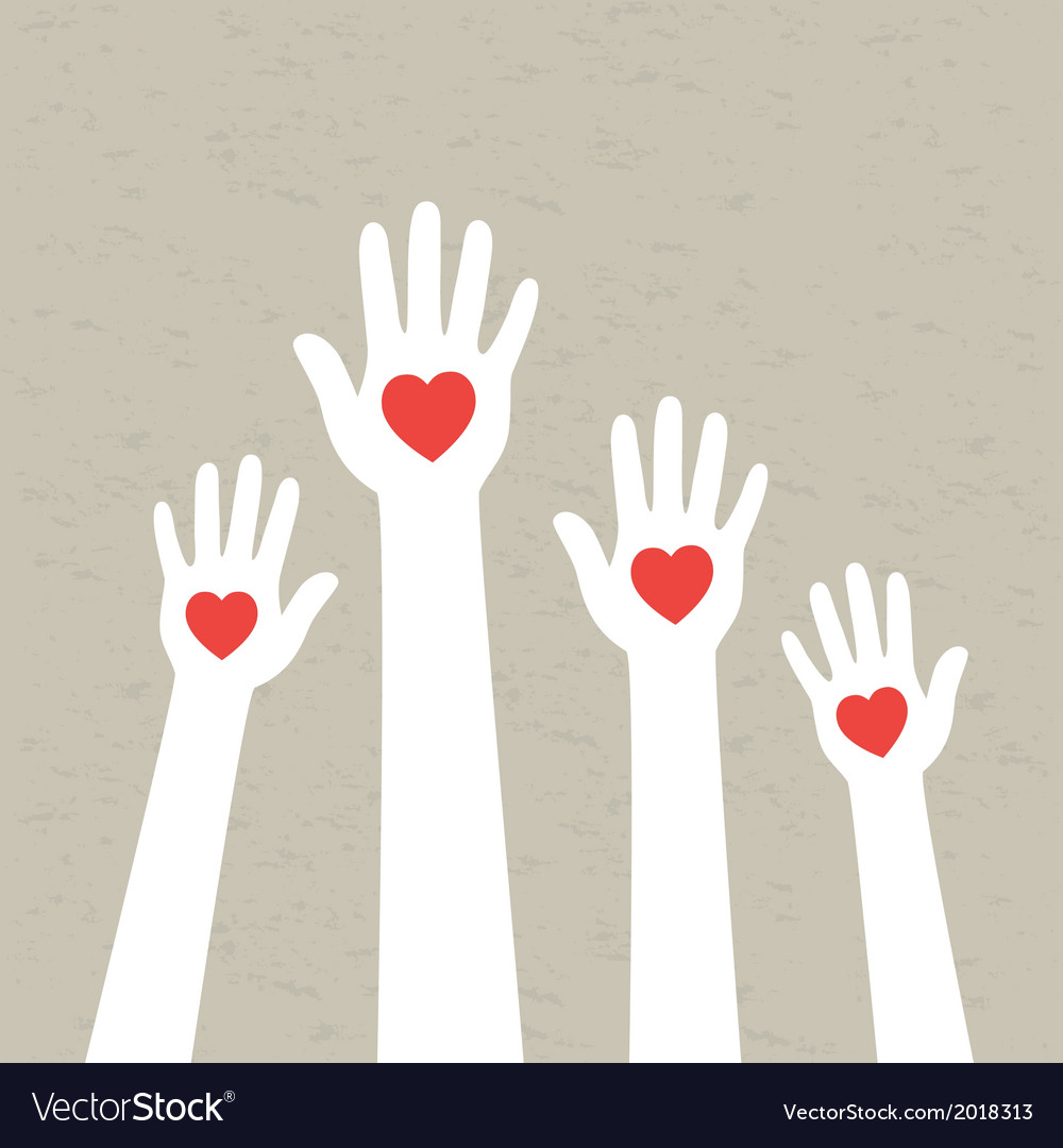 Hands with hearts vector