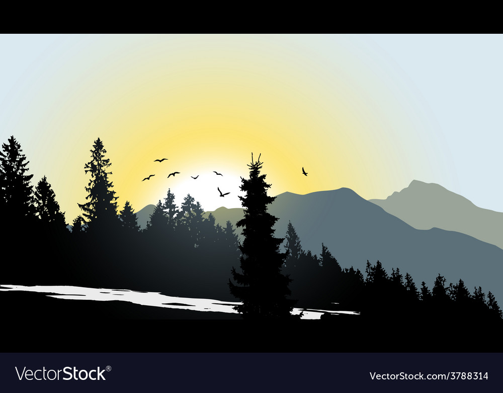 Mountain view with flying birds during sunrise vector