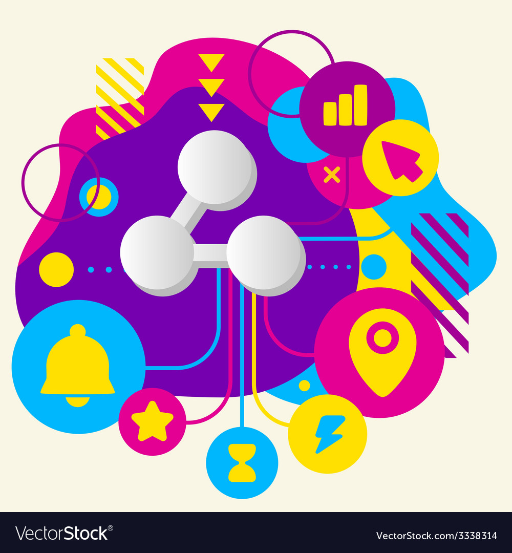 Symbol link on abstract colorful spotted vector