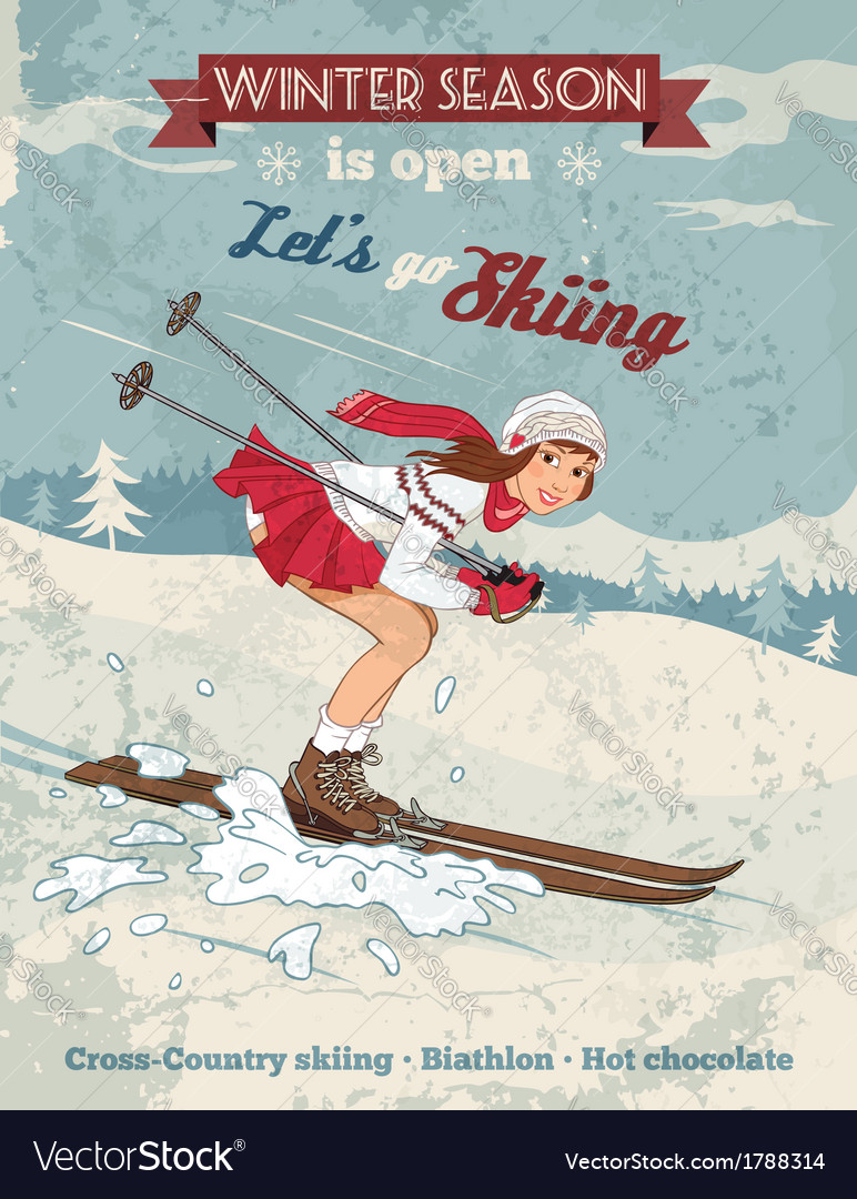 Vintage pin up girl skiing poster vector