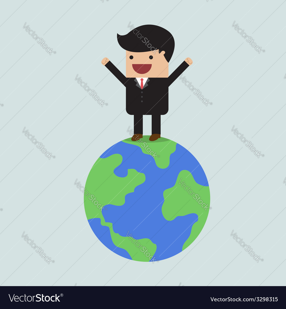 Businessman on the world vector