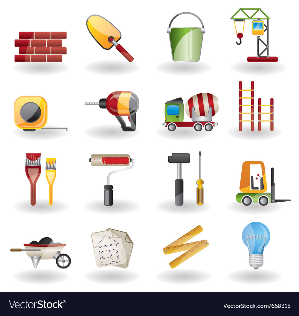 Construction and building icon set vector