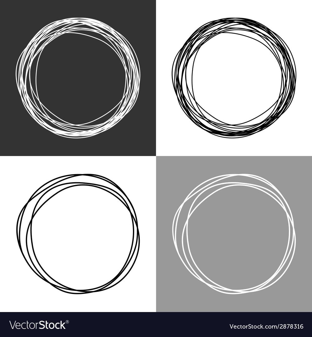 Hand drawn circles design elements vector