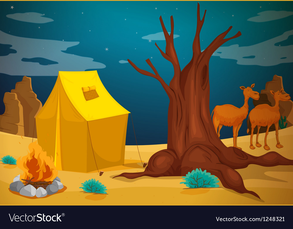 A tent with a camp fire vector