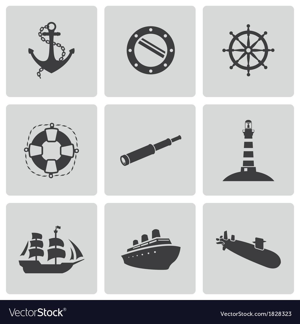 Black nautical icons set vector