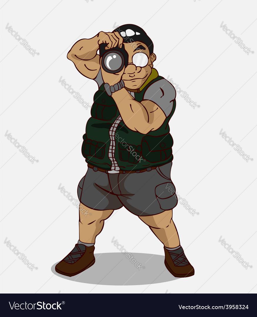Cartoon character happy photographer vector