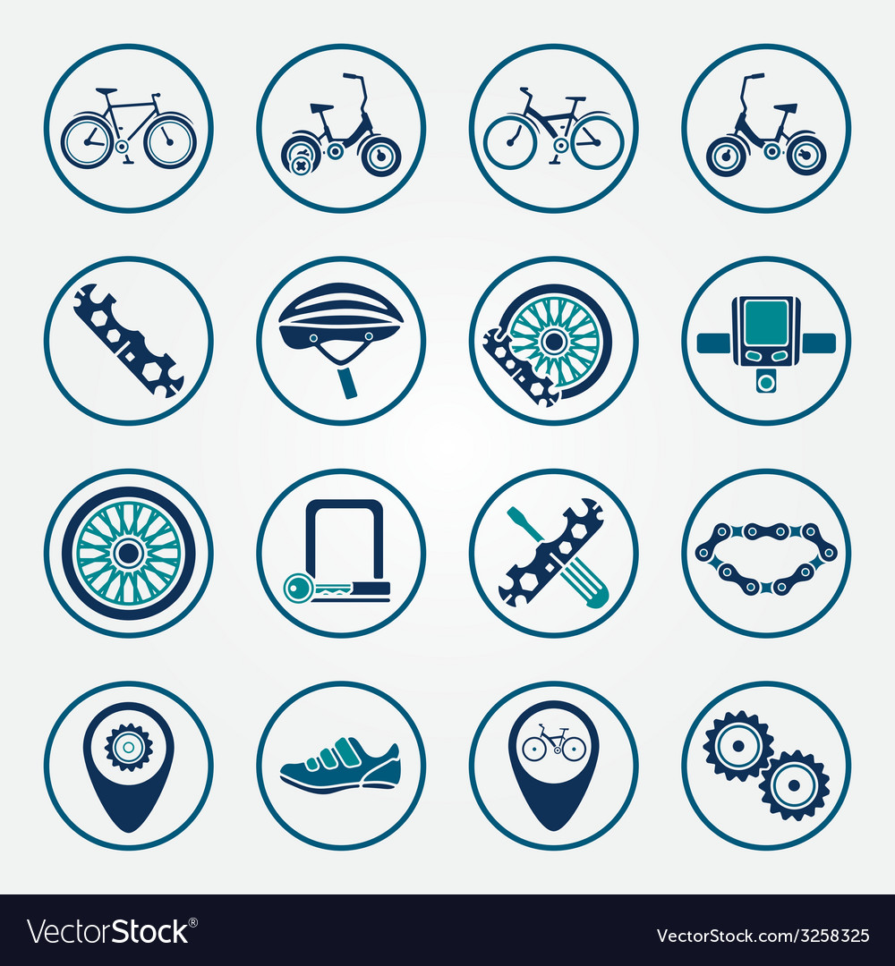 Biking icon set vector