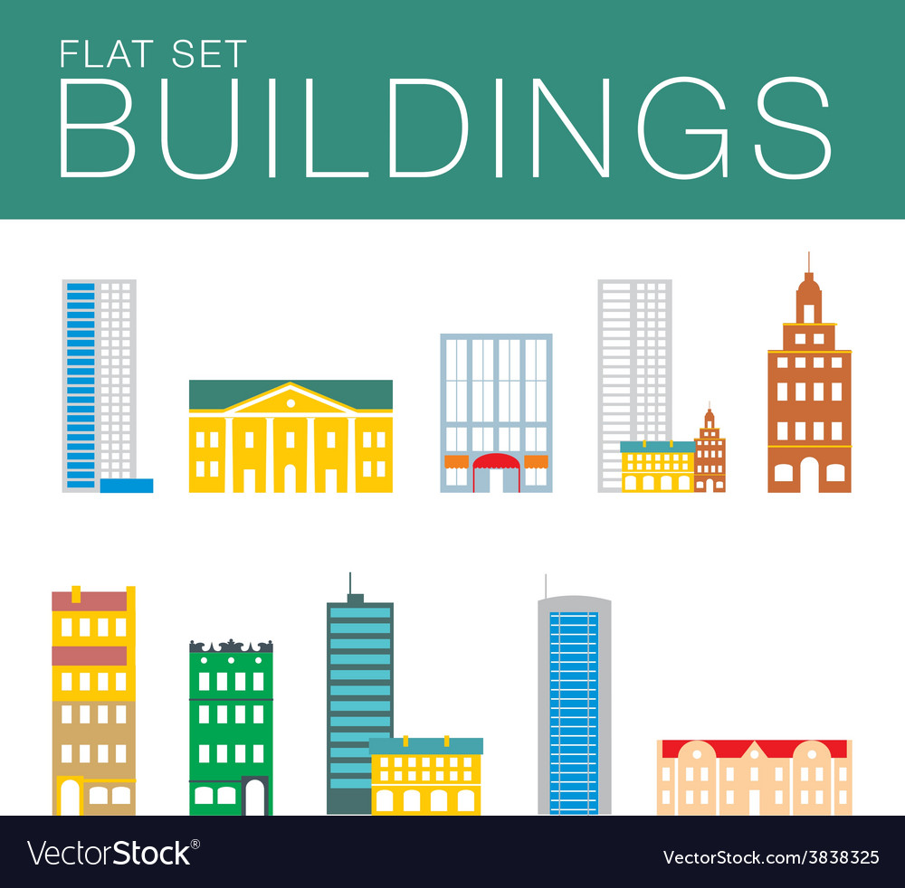 Building icon set abstract architecture vector