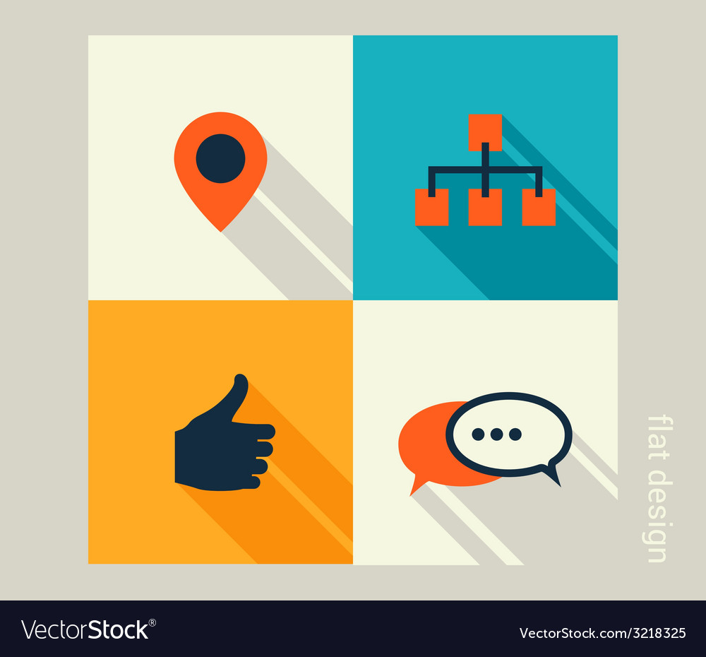 Business icon set software and web development vector