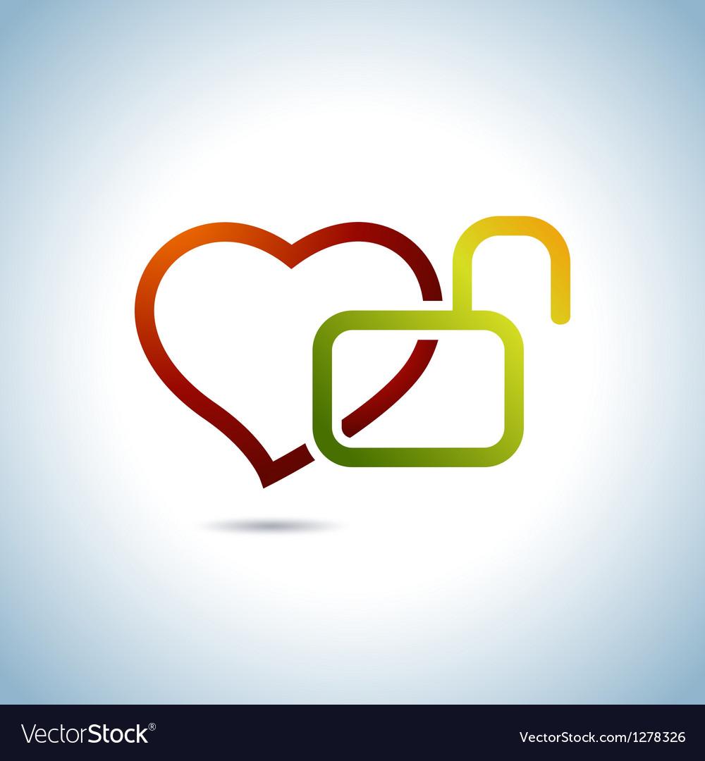 Heart and key vector