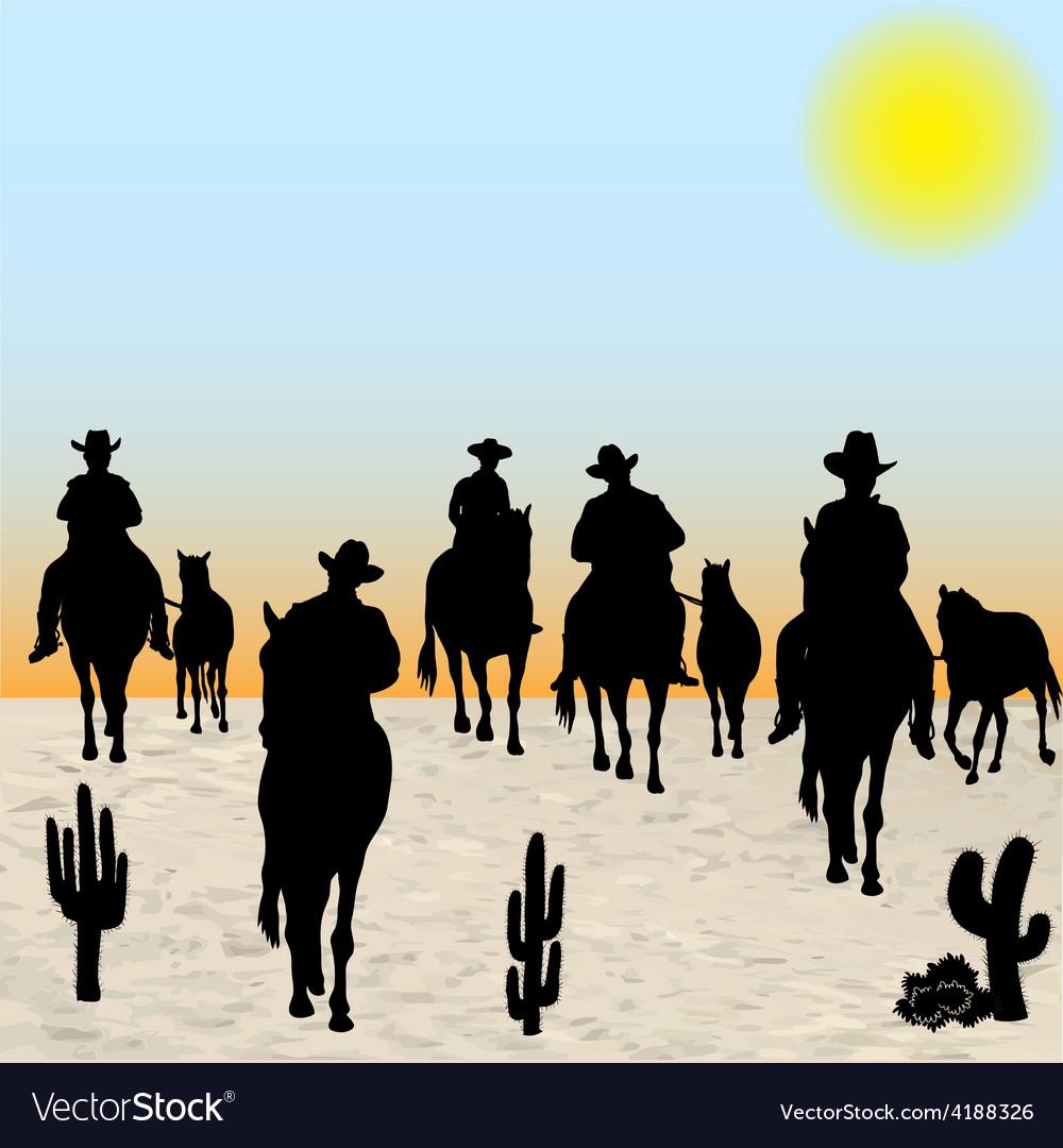 Horsemen group vector