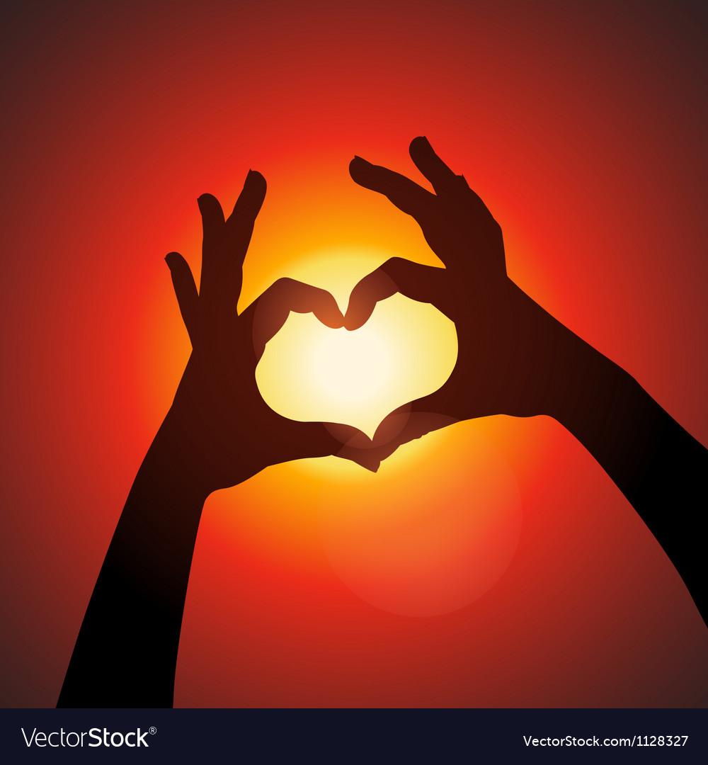 Love shape hands silhouette in sky vector