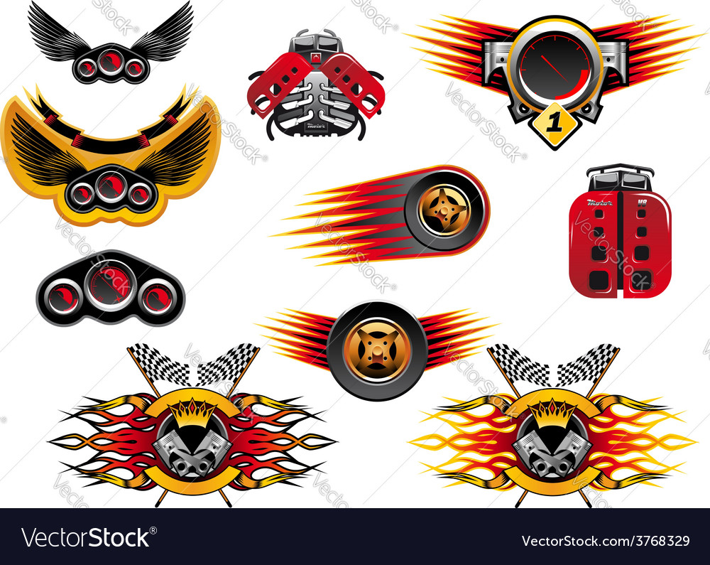 Colorful motor sport and racing icons vector