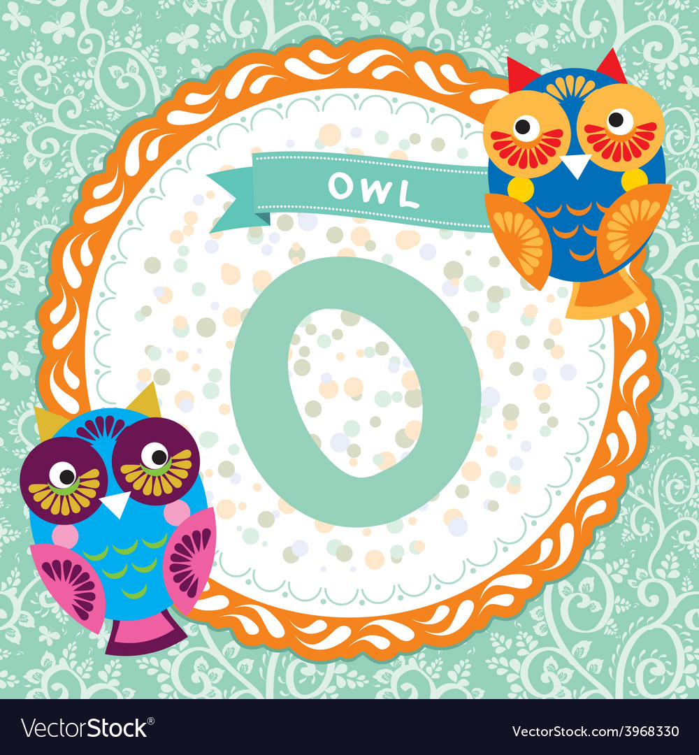 Abc animals o is owl childrens english alphabet vector