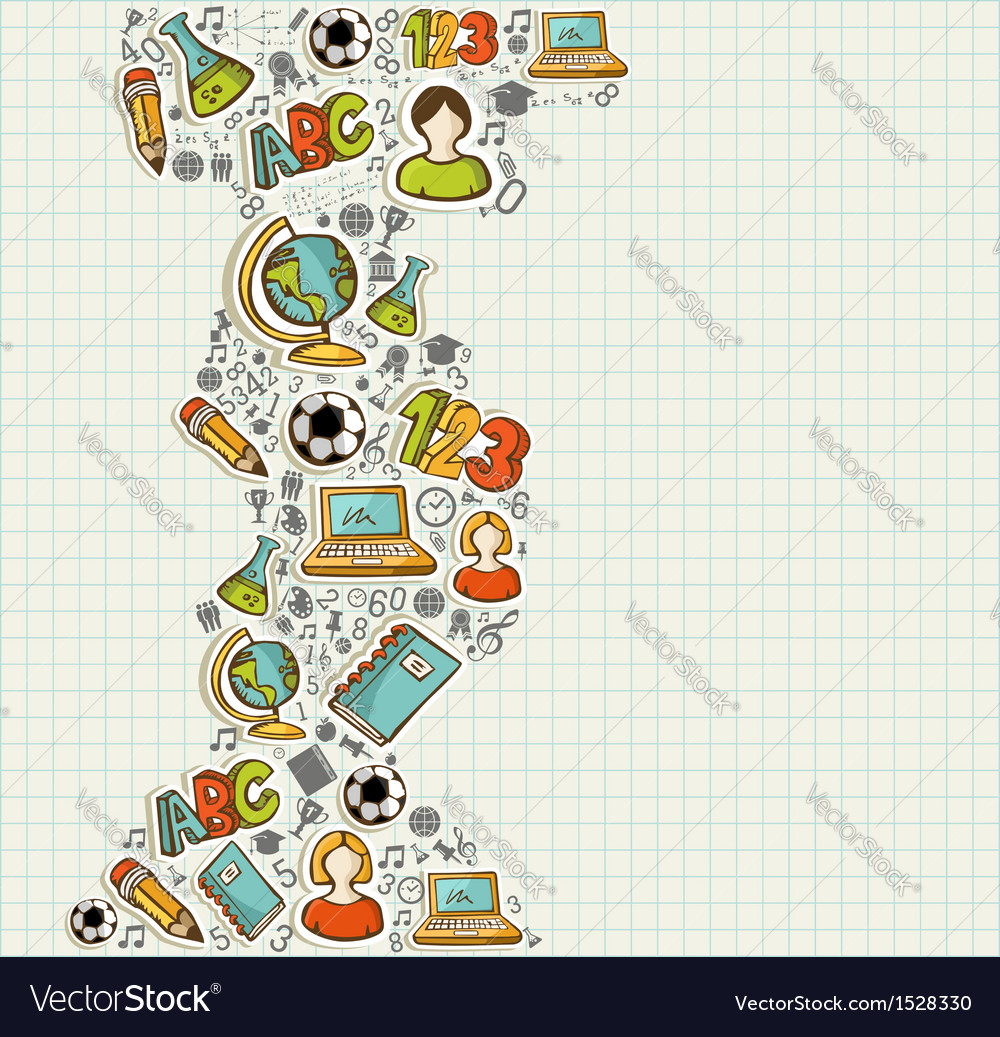 Back to school education cartoon icons vector