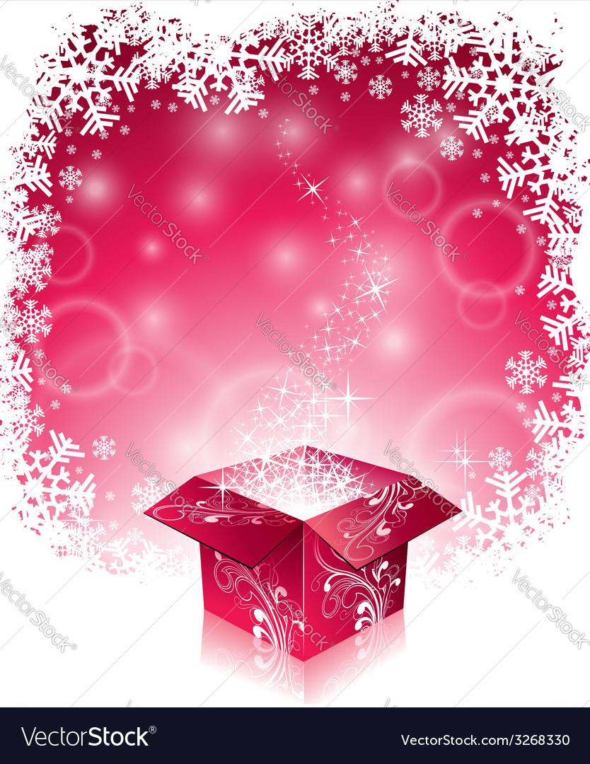 Christmas with shiny magic gift box vector