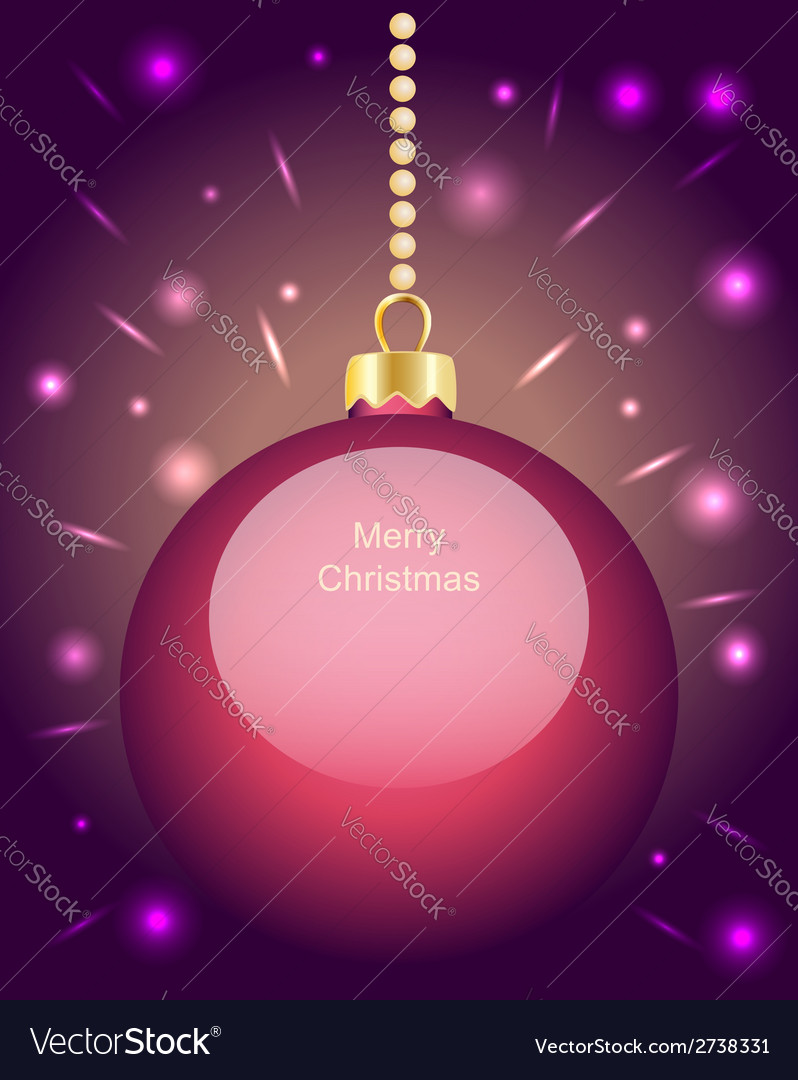 Glowing pink christmas bauble hanging on beads vector