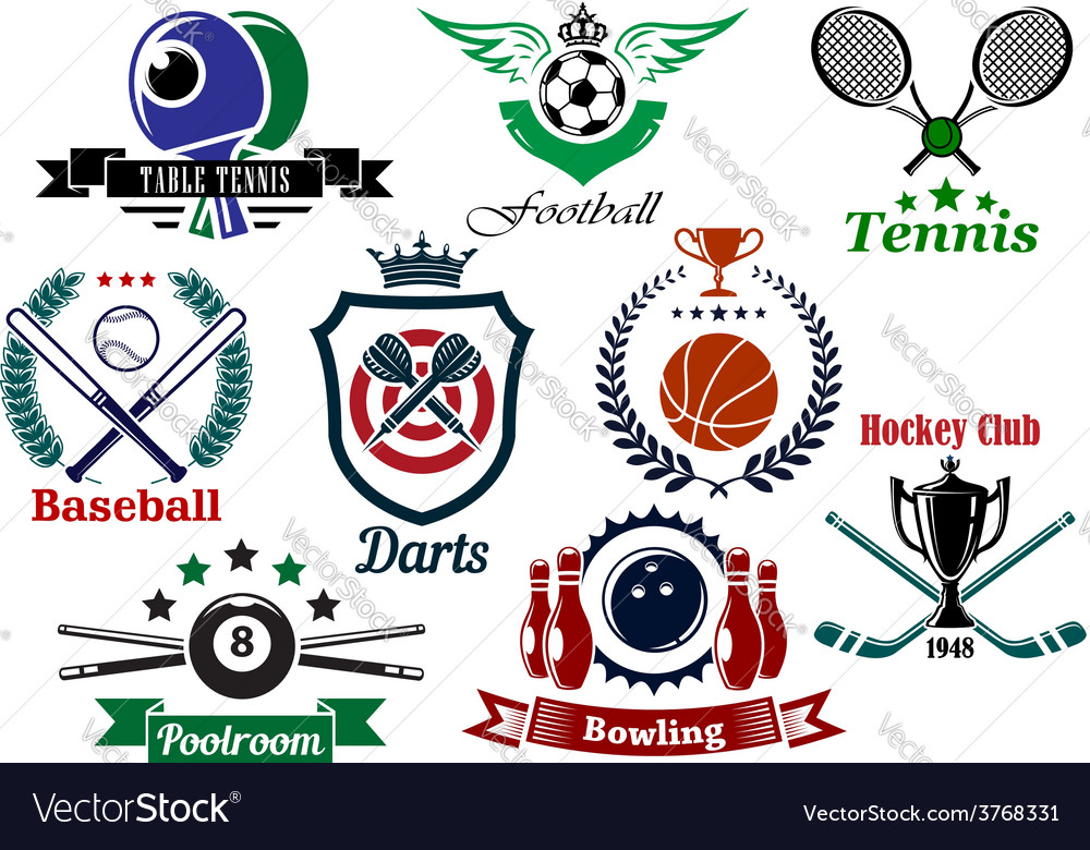 Sporting emblems and badges vector