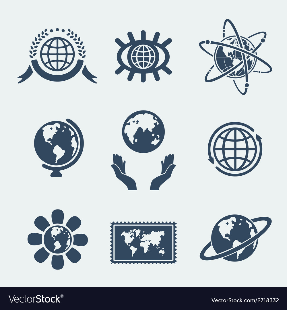 Set of symbols planet earth vector