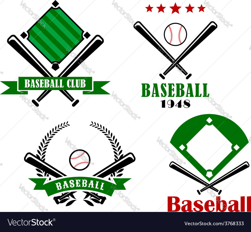 Baseball sporting emblems or badges vector