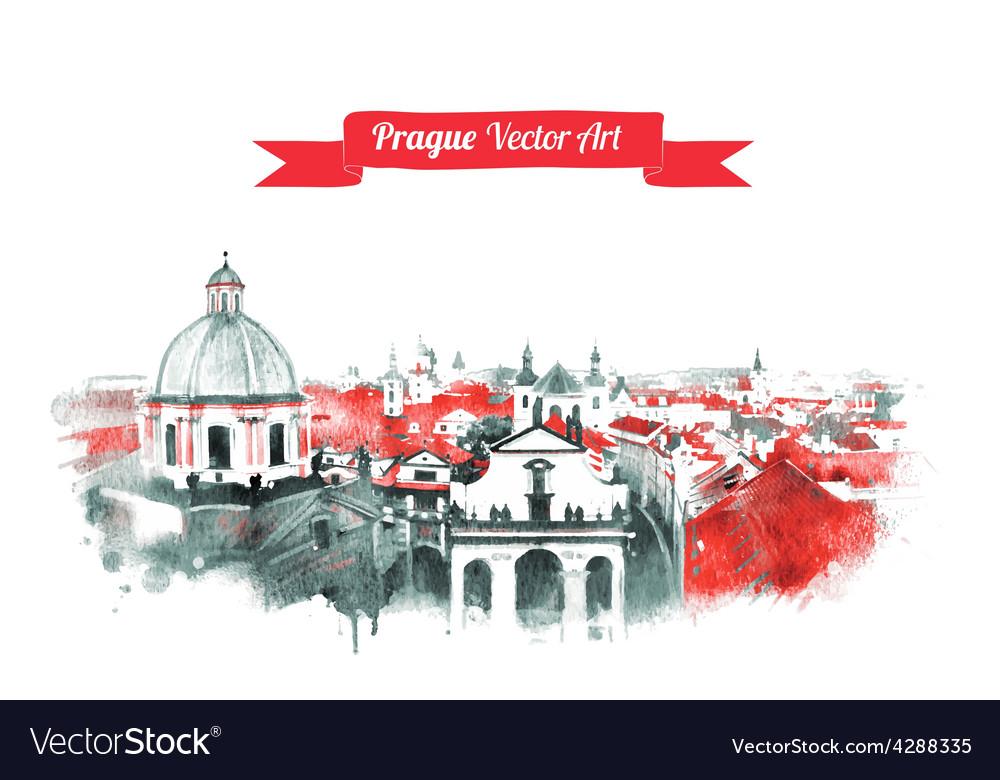 Old prague skyline view vector