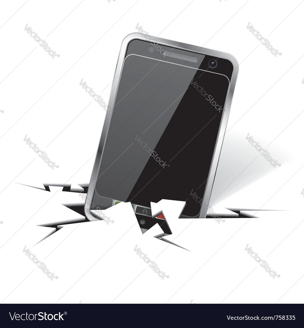 Smartphone in crack vector