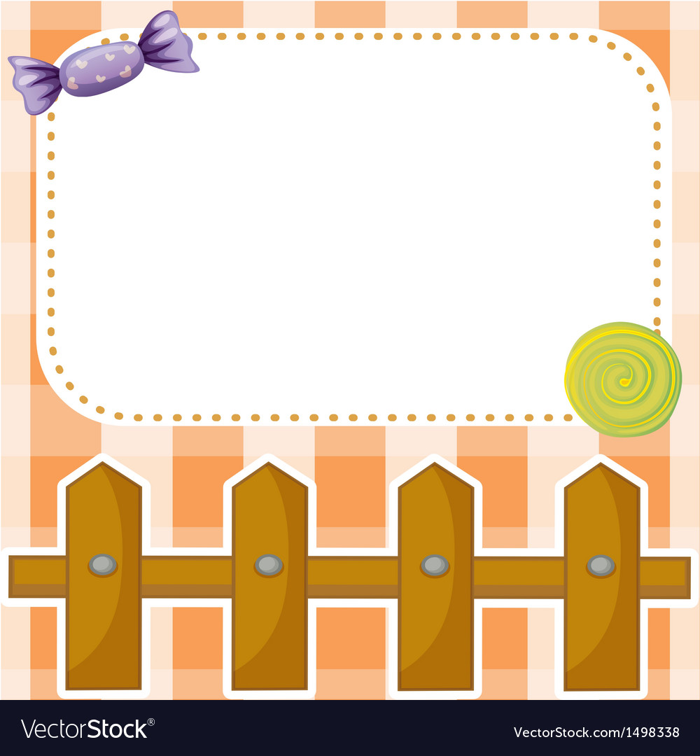 An empty paper note with candies and a wooden vector