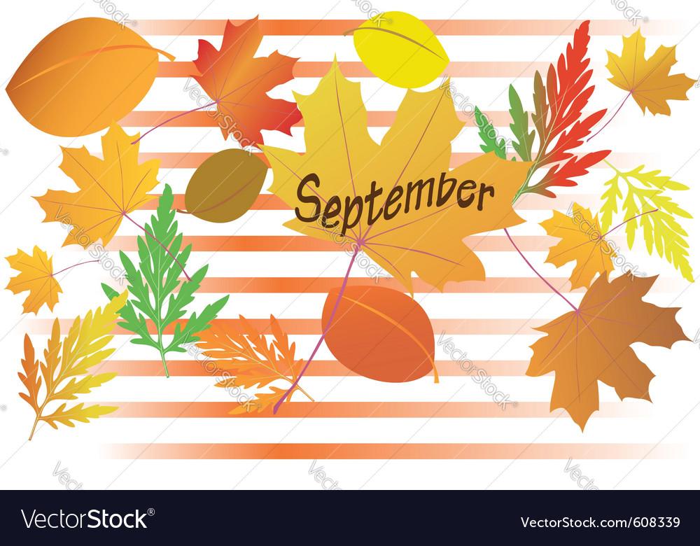 Autumn leaves - september month vector