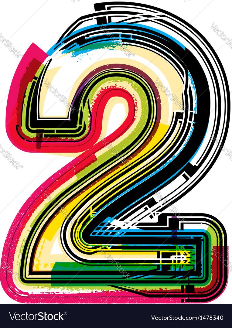 Colorful grunge font number 2 vector