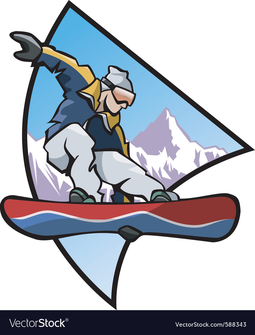 Snowboard logo colors vector