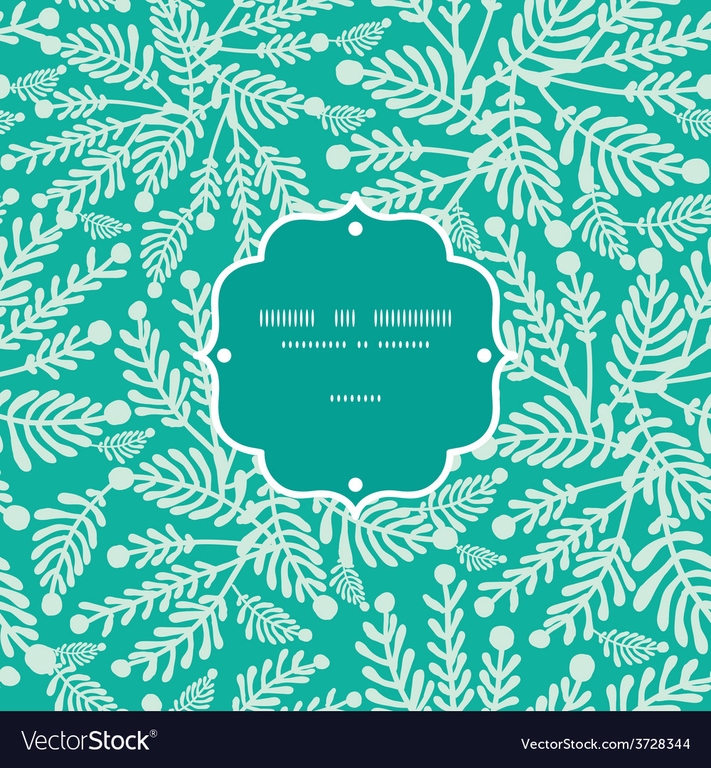Emerald green plants frame seamless pattern vector