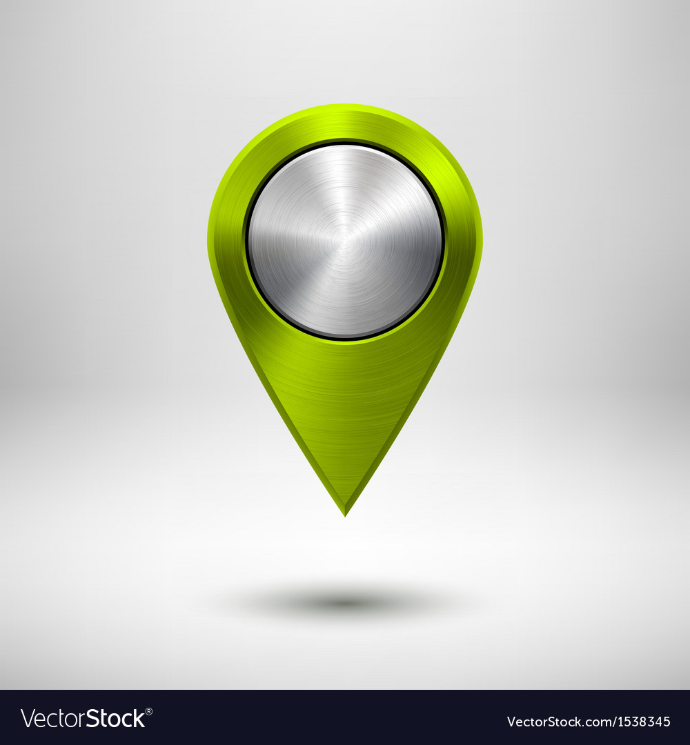 Technology map pointer with green metal texture vector
