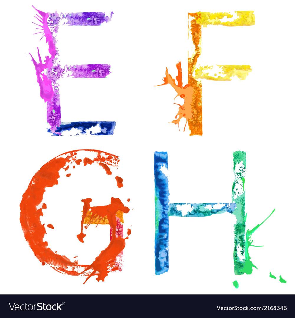 Paint splash font efgh vector
