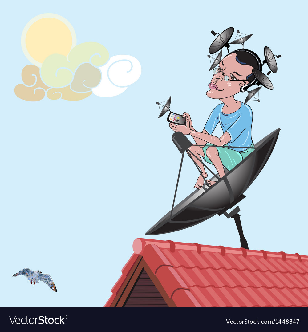 A man with satellite dish vector