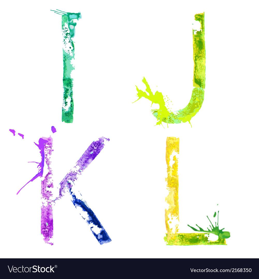 Paint splash font ijkl vector