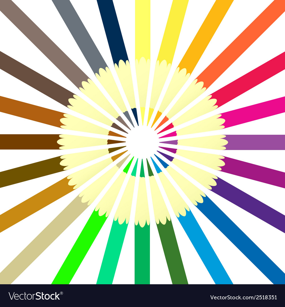 Circle of colored pencils vector