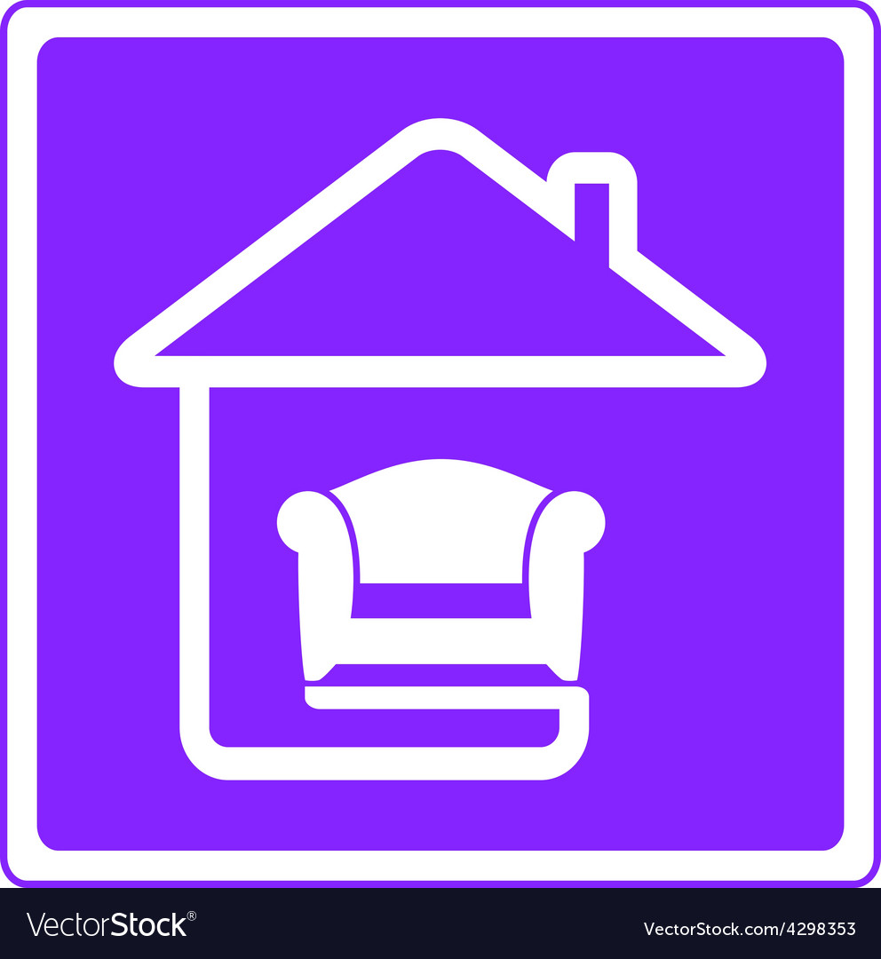 Armchair on home interior symbol vector