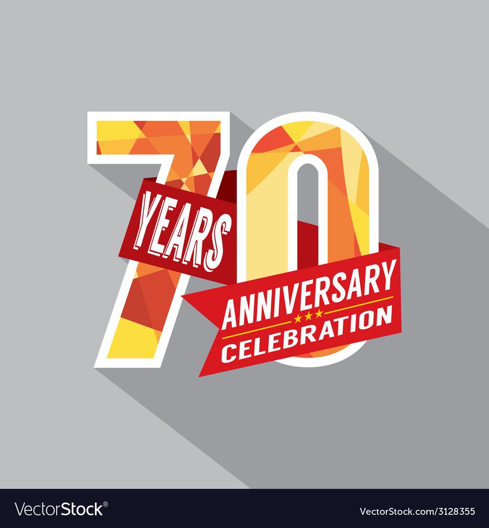 70th years anniversary celebration design vector
