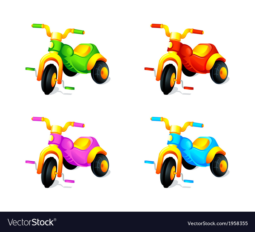 Child 3-wheel car vector