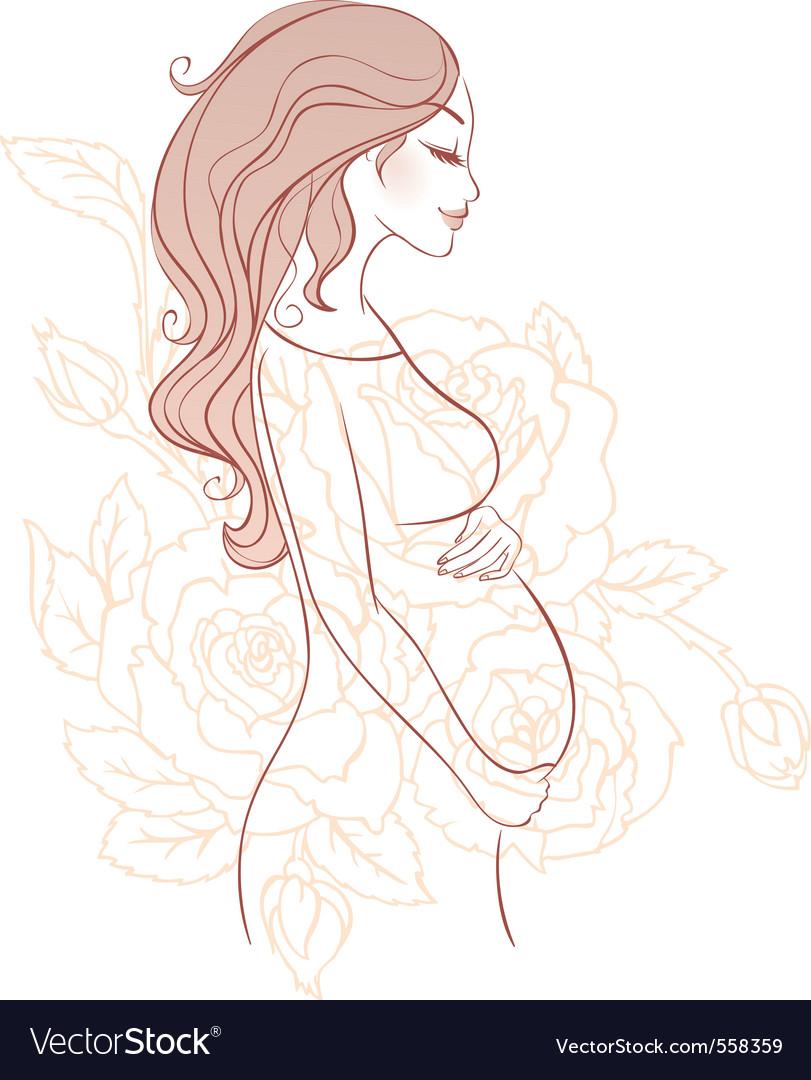 Pregnant sketch vector