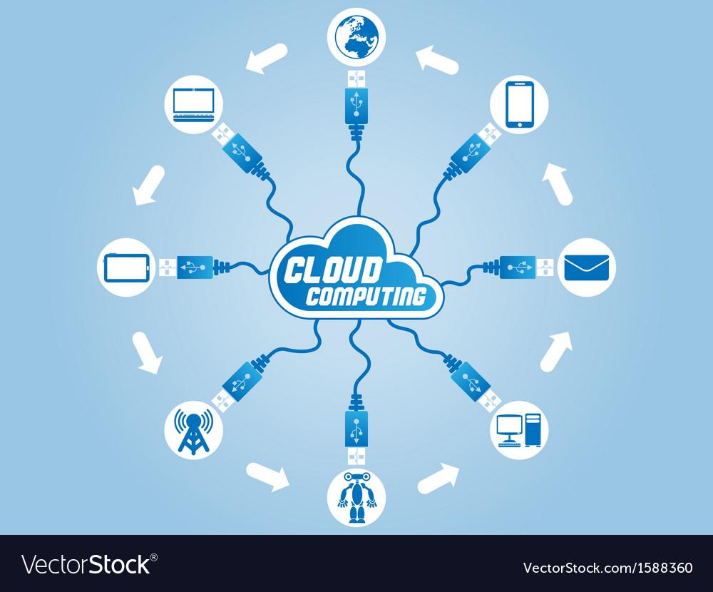 Cloud computing usb vector