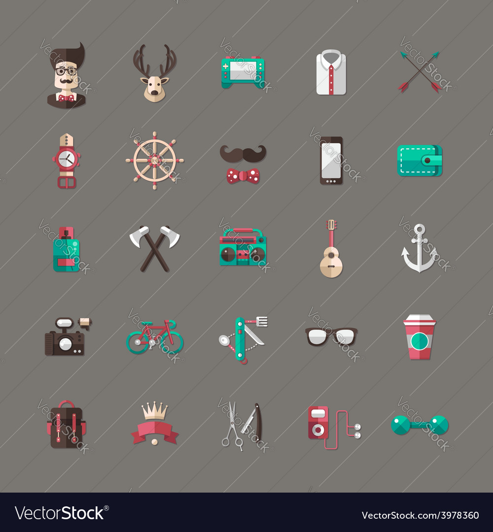 Set of modern flat design hipster icons vector