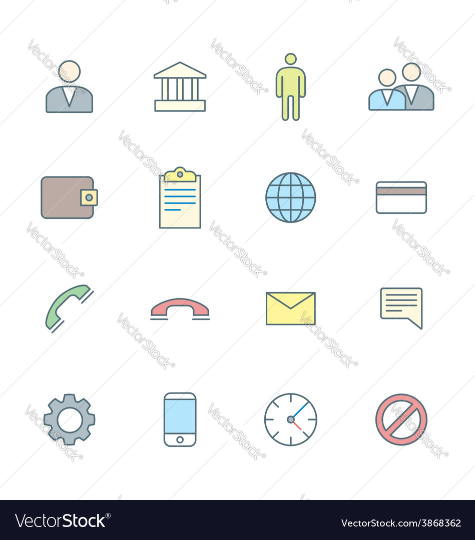 Colored outline various social network icons set vector