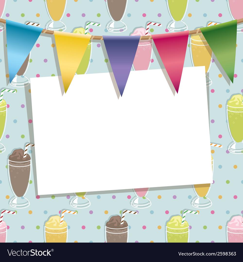 Milkshake party card vector